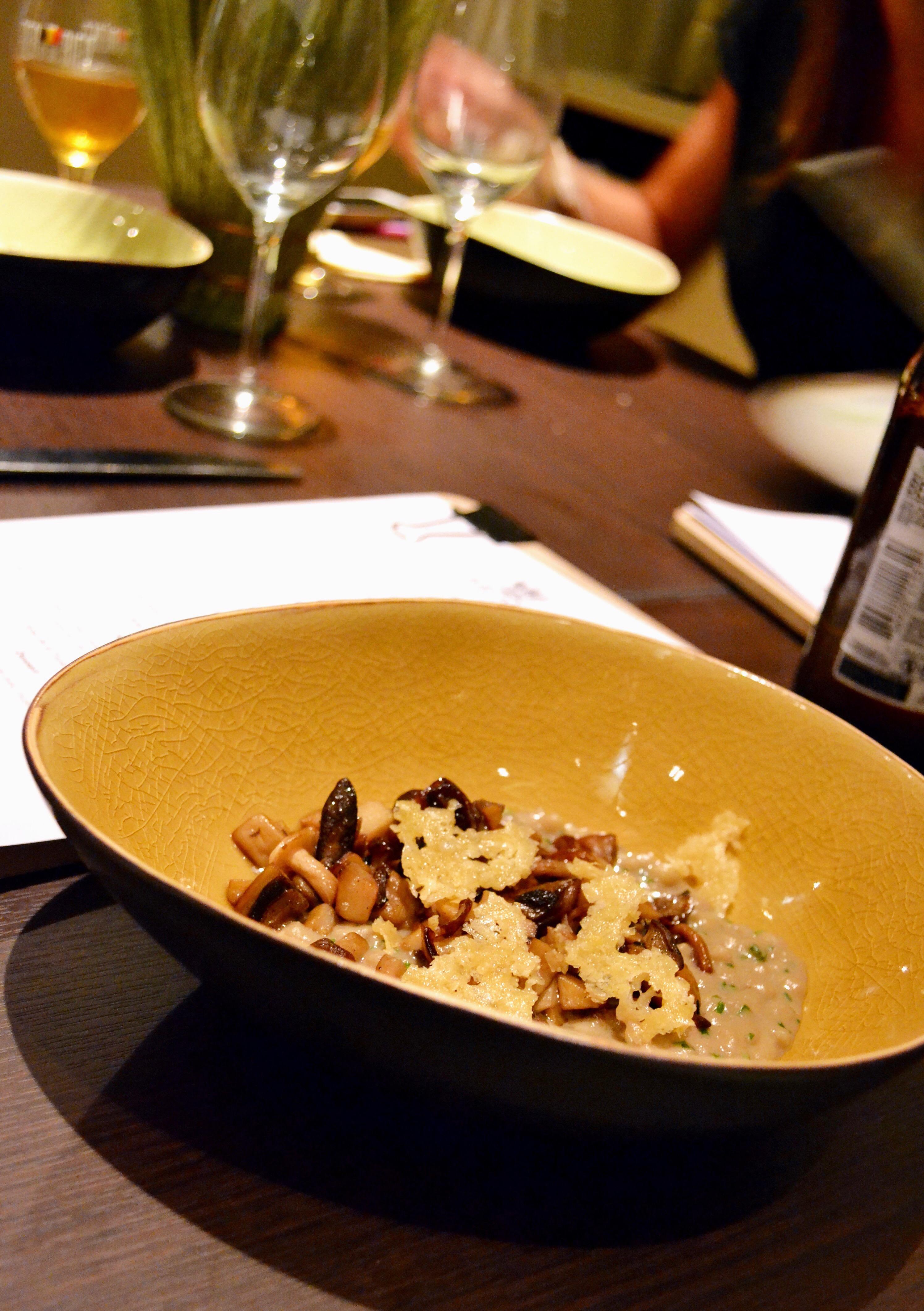 3ème plat: Risotto d'orge perlé, Stella Artois, champignon des bois, parmesan, truffe