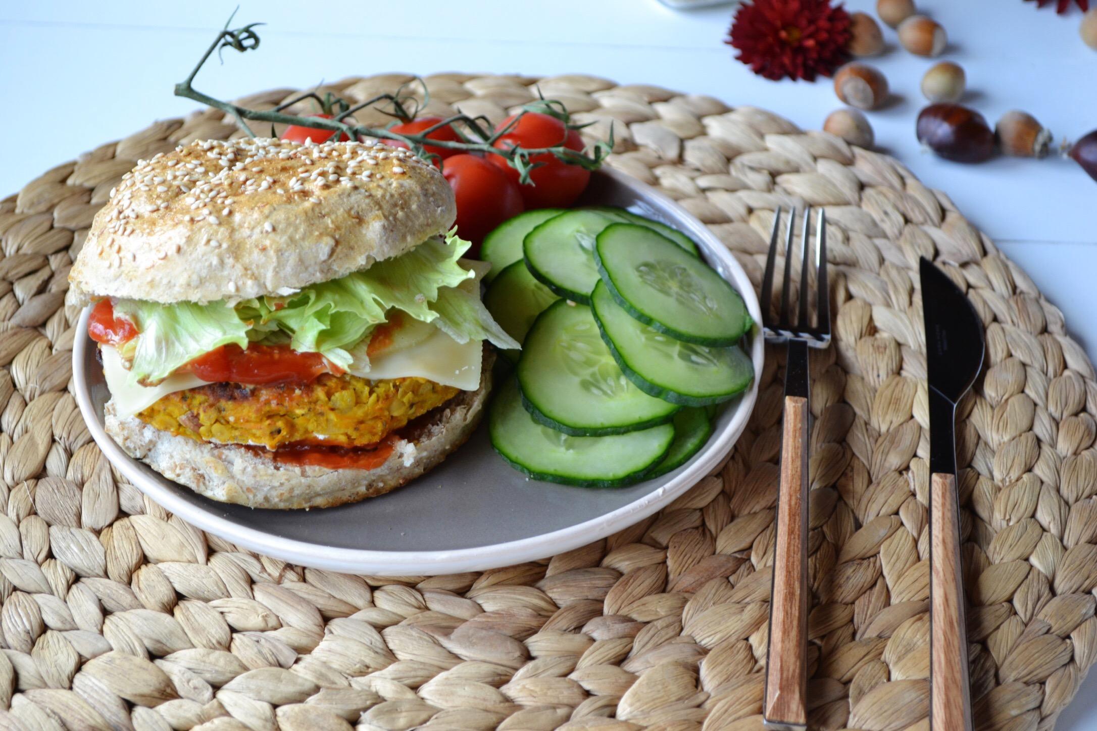 veggie burger de lentilles