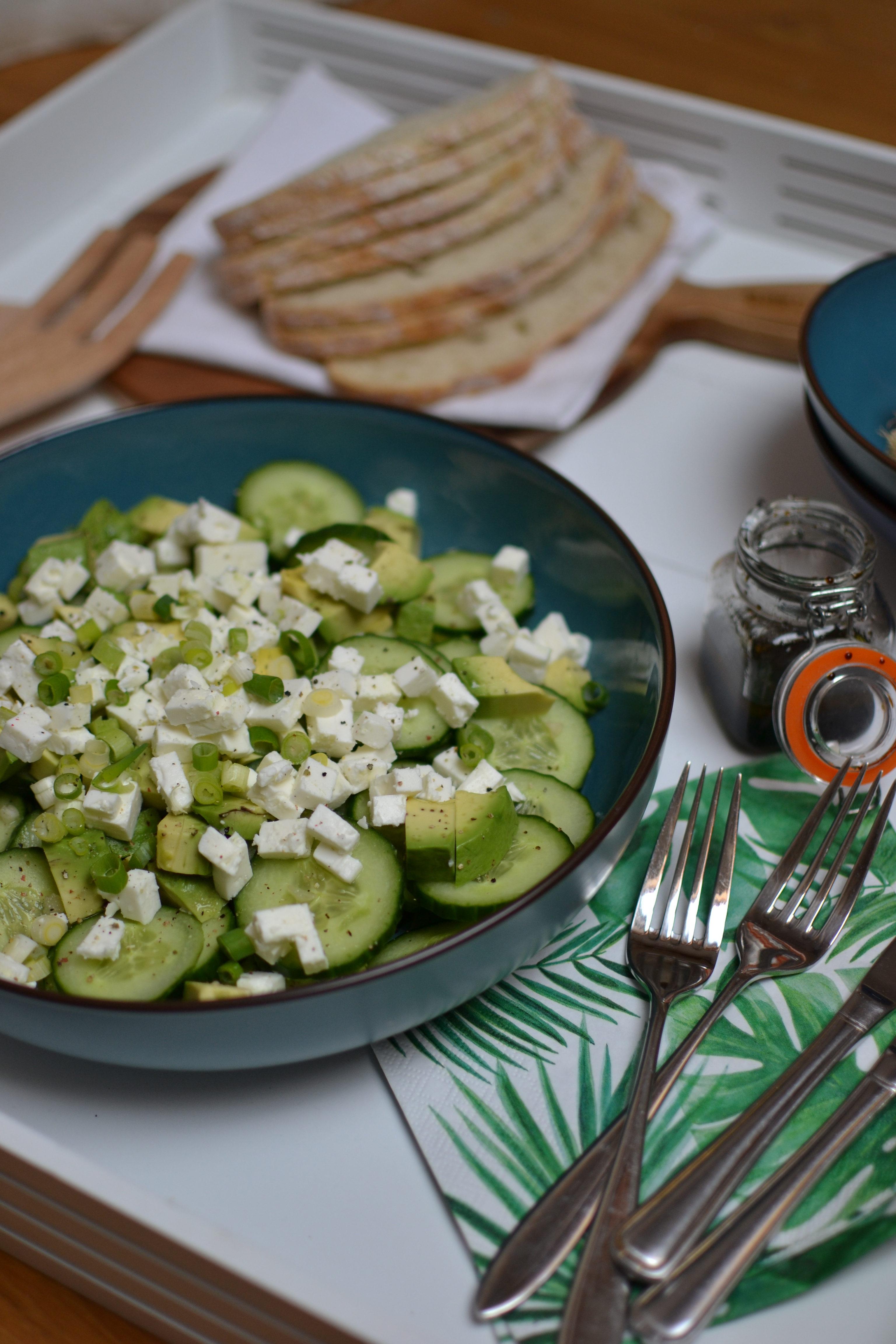 Salade concombre,avocat et feta