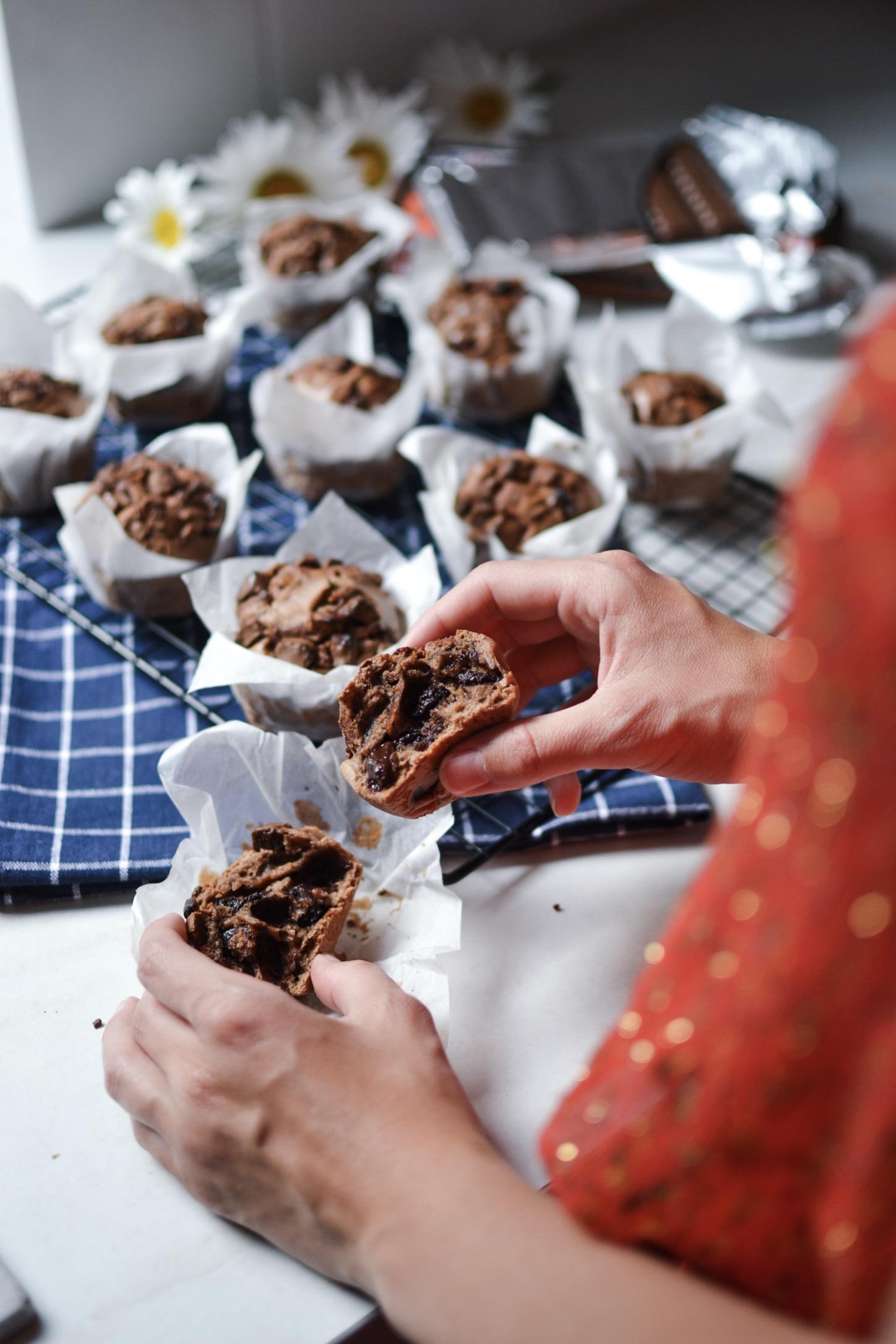 Muffins chocolat lait de coco , sans beurre !