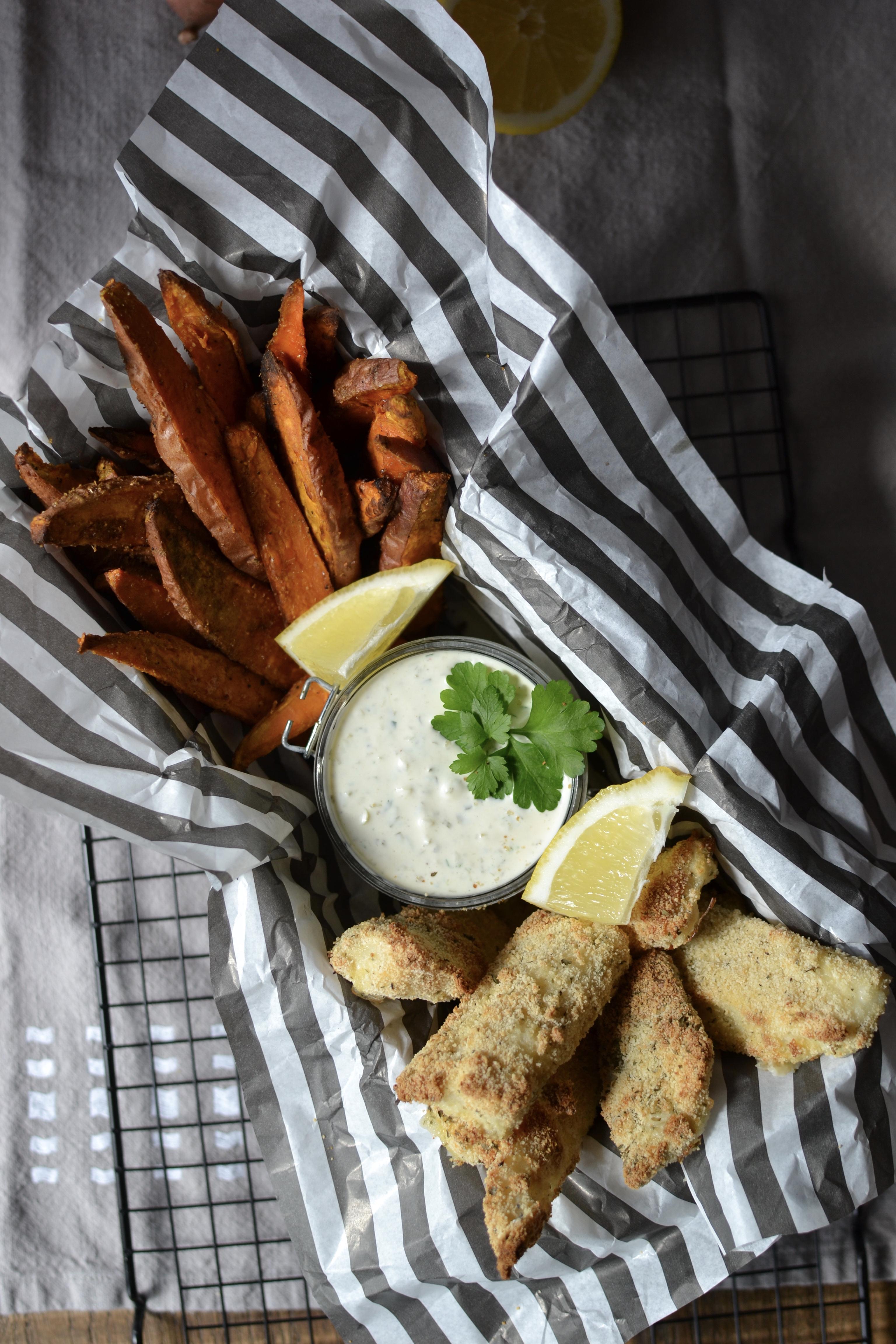 Fishstick et frites de patates douces, to share