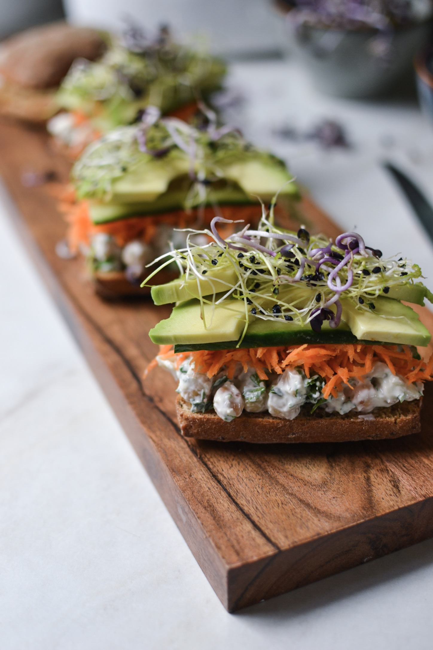 1 journée sans gluten : Ciabatta avec salade de pois chiches et crudités
