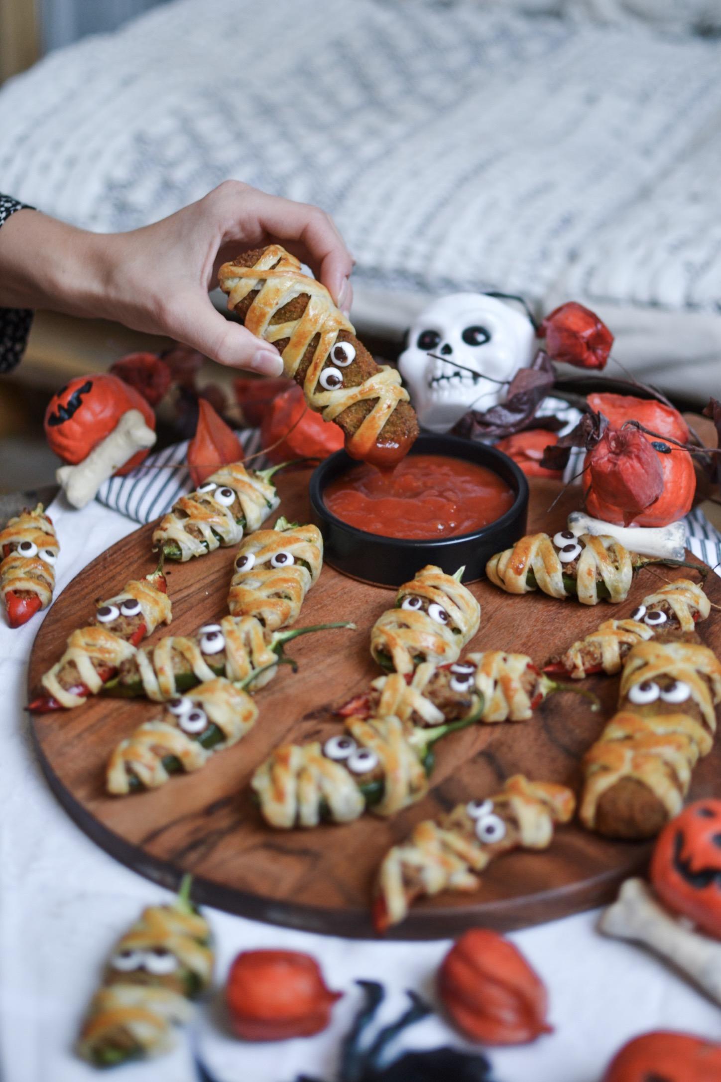 Minis poivrons farci halloween momie