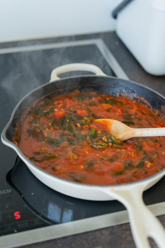 Pâtes au four, sauce tomate - épinards et ricotta