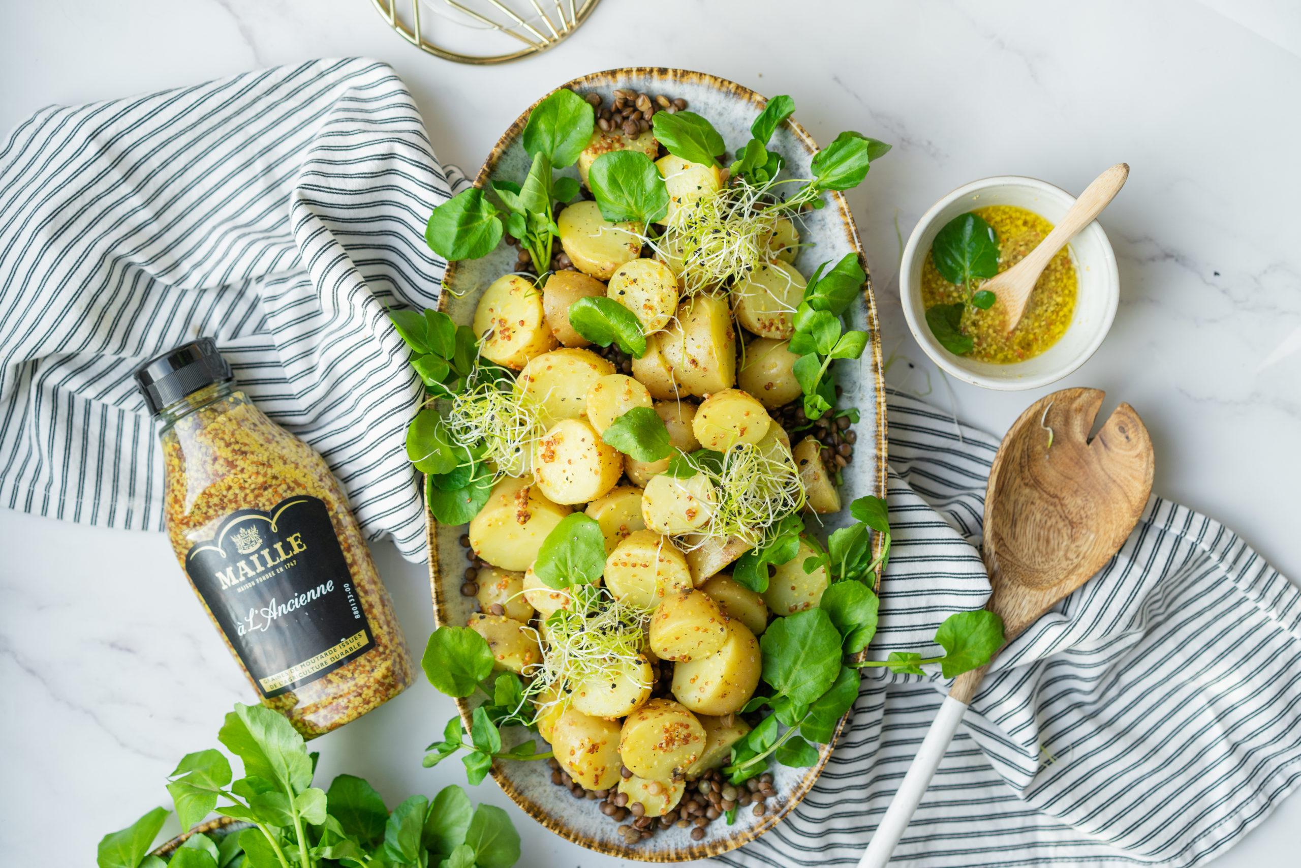 Plat de lentilles et pommes de terre à partager