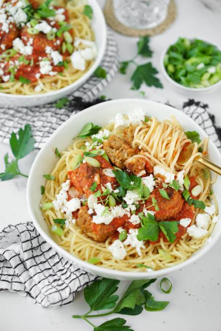 Spaghettis et boulettes veggie