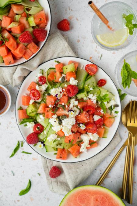 Salade pastèque - concombre et feta